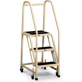 F013 EGA Office Ladder 3-Step Rubber Surface, Gray 450Lb. Capacity - F013