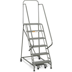 "L026 EGA Industrial Rolling Ladder 6-Step 26"" Wide Perforated, Gray 450Lb. Capacity - L026"