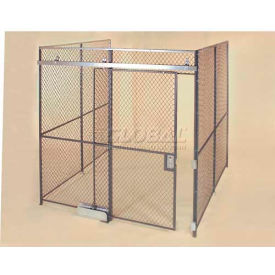 Wov-N-Wire™ Wire Mesh Pre-Designed, 3 Sided Room Kit, 10W X 10D X 10H, W/Slide Door