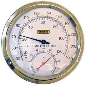 "A600FC General Tools A600FC Analog Thermo-Hygrometer With 5"" Aluminum Dial"