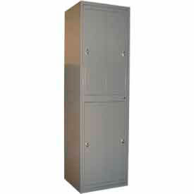 "george oday double tier 4 door garment locker w/knob lock,24-5/16""wx21-1/4""dx84-1/2""h,gry,assembled George ODay Double Tier 4 Door Garment Locker W/Knob Lock,24-5/16""Wx21-1/4""Dx84-1/2""H,Gry,Assembled"