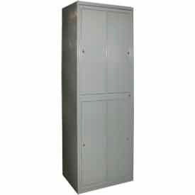 "george oday double tier 4 door garment locker w/cam lock, 31""wx21-1/4""dx84-1/2""h, gray, assembled George ODay Double Tier 4 Door Garment Locker W/Cam Lock, 31""Wx21-1/4""Dx84-1/2""H, Gray, Assembled"