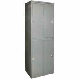 "george oday double tier 4 door garment locker w/knob lock, 31""wx21-1/4""dx84-1/2""h,gray,assembled George ODay Double Tier 4 Door Garment Locker W/Knob Lock, 31""Wx21-1/4""Dx84-1/2""H,Gray,Assembled"