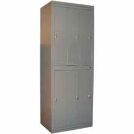 "george oday double tier 6 door garment locker w/knob lock, 31""wx21-1/4""dx84-1/2""h,slvr vn,assembled George ODay Double Tier 6 Door Garment Locker W/Knob Lock, 31""Wx21-1/4""Dx84-1/2""H,Slvr Vn,Assembled"