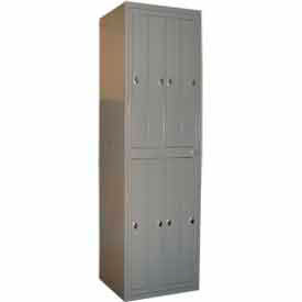 "george oday double tier 8 door garment locker w/knob lock,24-5/16""wx21-1/4""dx84-1/2""h,gry,assembled George ODay Double Tier 8 Door Garment Locker W/Knob Lock,24-5/16""Wx21-1/4""Dx84-1/2""H,Gry,Assembled"