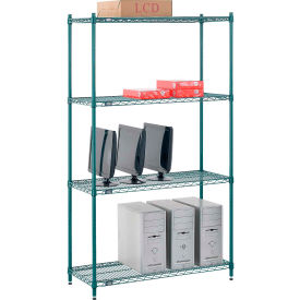"14427GZ Nexel; Green Epoxy Wire Shelving, 42""W X 14""D X 74""H"