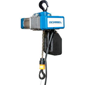 gorbel® electric chain hoist w/ chain container 2000 lbs. cap. 2 speed 15 lift 460v 4-8/9hp