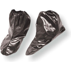 shoot suit® 3011b nylon shoe covers with elastic top, black, large, 2 pairs/pack
