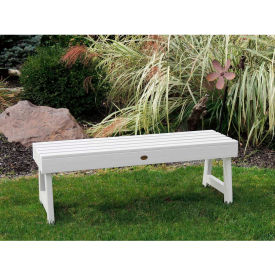 highwood® 5 weatherly backless outdoor bench, eco friendly synthetic wood in white highwood® 5 Weatherly Backless Outdoor Bench, Eco Friendly Synthetic Wood In White