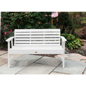 highwood® 4 weatherly outdoor bench, eco friendly synthetic wood in white highwood® 4 Weatherly Outdoor Bench, Eco Friendly Synthetic Wood In White
