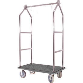 hospitality 1 source contemporary bellman cart bcf105-ss straight uprights, gray carpet, gray bumper