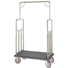 hospitality 1 source classic bellman cart bcf107ss straight uprights, gray carpet, gray bumper Hospitality 1 Source Classic Bellman Cart BCF107SS Straight Uprights, Gray Carpet, Gray Bumper