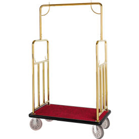 hospitality 1 source classic bellman cart bcf107tg straight uprights, burgundy carpet, black bumper Hospitality 1 Source Classic Bellman Cart BCF107TG Straight Uprights, Burgundy Carpet, Black Bumper