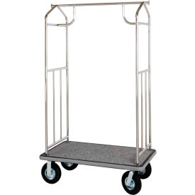 hospitality 1 source chrome transporter bellman cart, straight uprights, gray carpet, gray bumper Hospitality 1 Source Chrome Transporter Bellman Cart, Straight Uprights, Gray Carpet, Gray Bumper