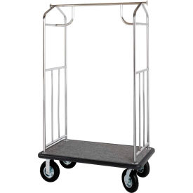 hospitality 1 source steel transporter bellman cart, straight uprights, gray carpet, black bumper Hospitality 1 Source Steel Transporter Bellman Cart, Straight Uprights, Gray Carpet, Black Bumper