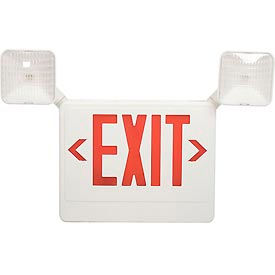 HL04093RW Howard Lighting Exit/Emergency, 120/277V, 6V Battery, Plastic, White Reflector, Red Letter