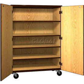 "mobile wood general storage cabinet,w/locks, solid door, 48""w x 22-1/4""d x 66""h, oiled cherry/black Mobile Wood General Storage Cabinet,w/Locks, Solid Door, 48""W x 22-1/4""D x 66""H, Oiled Cherry/Black"