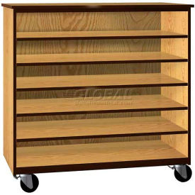 "tote tray mobile wood cabinet, open front, 48""w x 22-1/4""d x 48""h, natural oak/brown Tote Tray Mobile Wood Cabinet, Open Front, 48""W x 22-1/4""D x 48""H, Natural Oak/Brown"
