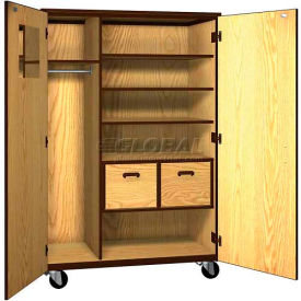 "mobile wood teacher cabinet, 3 shelves, 2 file drawers, 48""w x 22-1/4""d x 72""h, oiled cherry/black"