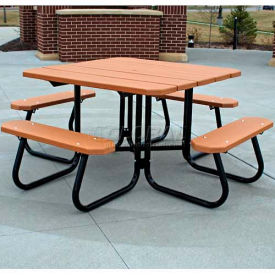PB 4 REDSQPIC Jayhawk Recycled Plastic Square Picnic Table, Red