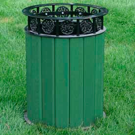 jamestown receptacle, recycled plastic, 12 gal., green Jamestown Receptacle, Recycled Plastic, 12 Gal., Green