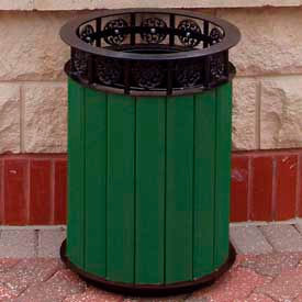 jamestown receptacle, recycled plastic, 20 gal., green Jamestown Receptacle, Recycled Plastic, 20 Gal., Green
