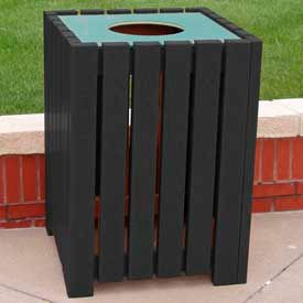 heavy duty square receptacle, recycled plastic, 32 gal., black Heavy Duty Square Receptacle, Recycled Plastic, 32 Gal., Black