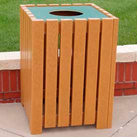 heavy duty square receptacle, recycled plastic, 32 gal., cedar Heavy Duty Square Receptacle, Recycled Plastic, 32 Gal., Cedar