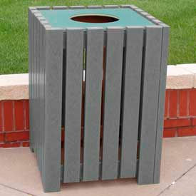 heavy duty square receptacle, recycled plastic, 32 gal., gray Heavy Duty Square Receptacle, Recycled Plastic, 32 Gal., Gray