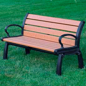 PB 4CEDBFHER Heritage Bench, Recycled Plastic, 4 ft, Black Frame, Cedar
