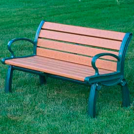 PB 4CEDGFHER Heritage Bench, Recycled Plastic, 4 ft, Green Frame, Cedar