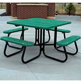 PB 4GRESQPIC Square Picnic Table, Recycled Plastic, 4 ft, Green