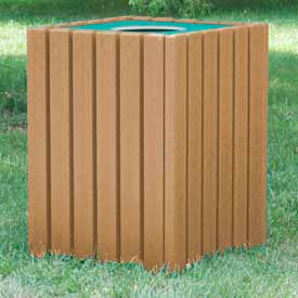 heavy duty square receptacle, recycled plastic, 55 gal., cedar Heavy Duty Square Receptacle, Recycled Plastic, 55 Gal., Cedar