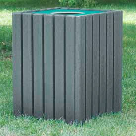 heavy duty square receptacle, recycled plastic, 55 gal., gray Heavy Duty Square Receptacle, Recycled Plastic, 55 Gal., Gray