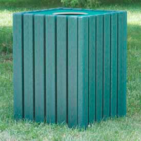heavy duty square receptacle, recycled plastic, 55 gal., green Heavy Duty Square Receptacle, Recycled Plastic, 55 Gal., Green