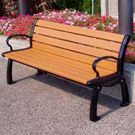 PB 5CEDBFHER Heritage Bench, Recycled Plastic, 5 ft, Black Frame, Cedar