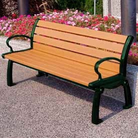 PB 5CEDGFHER Heritage Bench, Recycled Plastic, 5 ft, Green Frame, Cedar