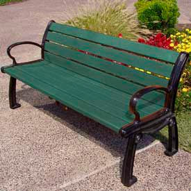 PB 5GREBFHER Heritage Bench, Recycled Plastic, 5 ft, Black Frame, Green