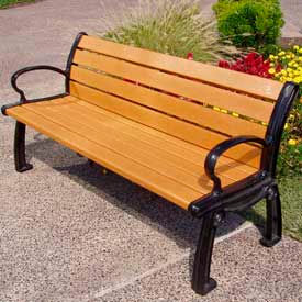 PB 6CEDBFHER Heritage Bench, Recycled Plastic, 6 ft, Black Frame, Cedar