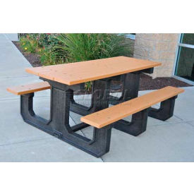 PB 6CEDPARKP Jayhawk Recycled Plastic 6 Ft. Park Place Picnic Table, Cedar
