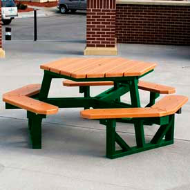 PB 6GFHEXCED Hex Table, Recycled Plastic, 6 ft, Green Frame, Cedar