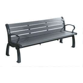 PB 6GRABFHER Heritage Bench, Recycled Plastic, 6 ft, Black Frame, Gray