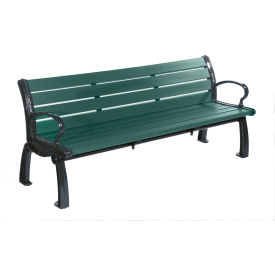 PB 6GREBFHER Heritage Bench, Recycled Plastic, 6 ft, Black Frame, Green