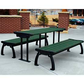 PB 6GREBFHERPIC Heritage Table, Recycled Plastic, 6 ft, Black Frame, Green