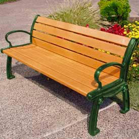 PB 8CEDGFHER Heritage Bench, Recycled Plastic, 8 ft, Green Frame, Cedar