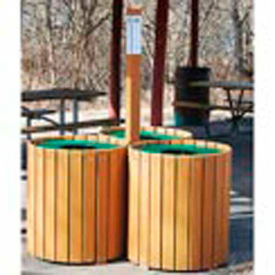 recycling center - resinwood slats cedar 96 gallon Recycling Center - Resinwood Slats Cedar 96 Gallon