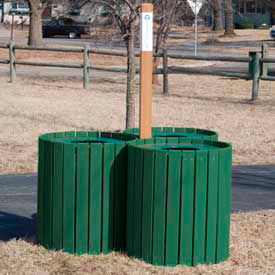 recycling center - resinwood slats green 96 gallon Recycling Center - Resinwood Slats Green 96 Gallon