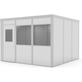 global industrial™ class c,12x12,4 wall, 2 window, lt. oak color wood grain door, gray walls Global Industrial™ Modular Implant Office W/2 Windows, Class C, 12Wx16D, Gray