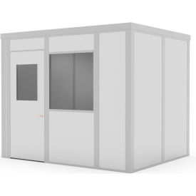 global industrial™ class c, 8x10, 4 wall, 1 window, lt. oak color wood grain door,gray walls Global Industrial™ Modular Implant Office W/1 Window, Class C, 8Wx10D, Gray