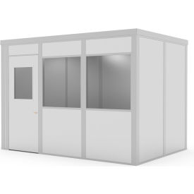 global industrial™ class c,8x12,4 wall, 2 windows, lt. oak color wood grain door, gray walls Global Industrial™ Modular Implant Office W/2 Windows, Class C, 8Wx12D, Gray